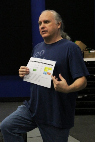 Little Revolt Twelfth Night director discussing rehearsal schedule