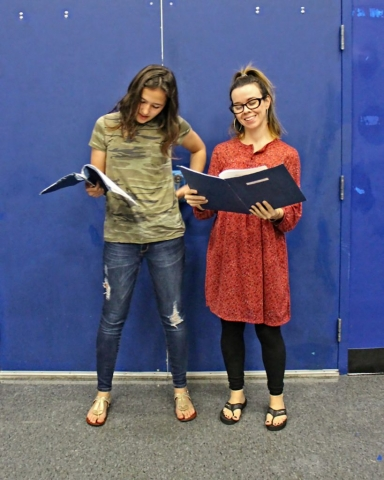 Two actors rehearsing scene during Twelfth Night rehearsal