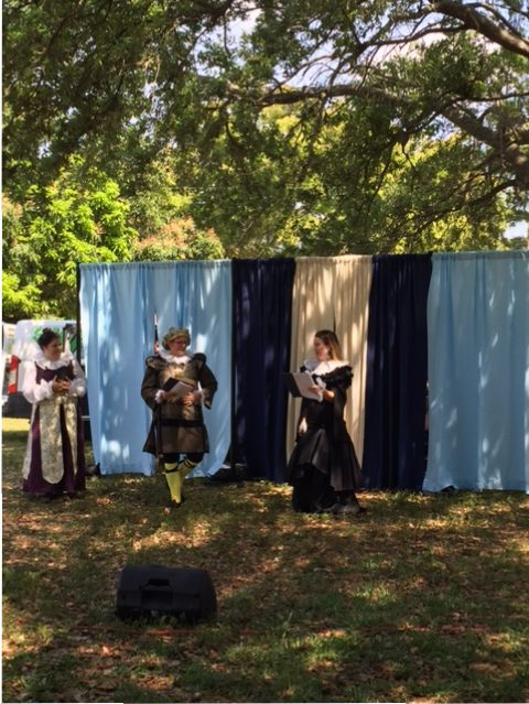 Twelfth Night cast rehearsing outdoors Malvolio and Olivia