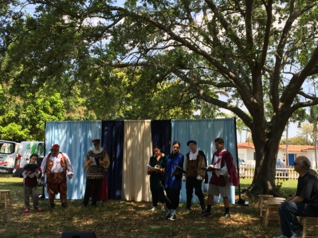 Little Revolt Twelfth Night cast rehearsing outdoors
