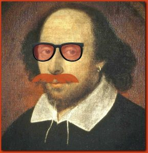 Shakespeare wearing sunglasses Little Revolt theater