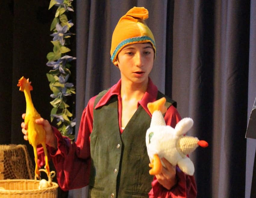 Little Revolt theater comedy of errors Shakespeare student actor with chickens